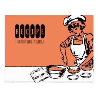 Carte Postale voiture vintage de recette de cuisson de fille de
