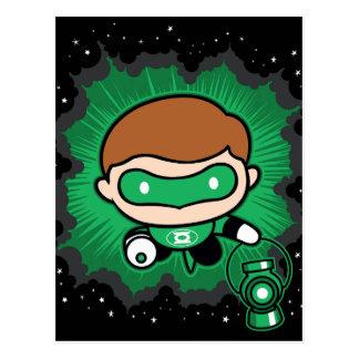 Carte Postale Vol vert de lanterne de Chibi par l'espace