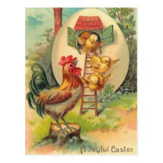 Carte Postale Volière d'oeufs de poussin de coq de Pâques