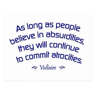 Carte Postale Voltaire sur des absurdités