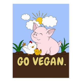 Carte Postale Vont le végétalien - porc et poulet mignons