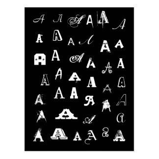 Carte Postale Votre lettre. Monogrammes faits sur commande. Noir