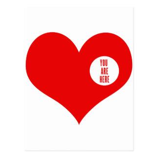 Carte Postale VOUS ÊTES ICI - amour et cadeaux du valentine
