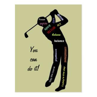 Carte Postale Vous pouvez le faire ! Golf, sport, mots de