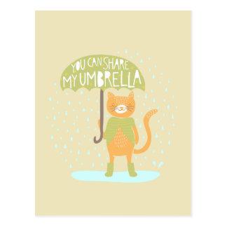 """Carte Postale """"Vous pouvez minou partager mon parapluie"""""""