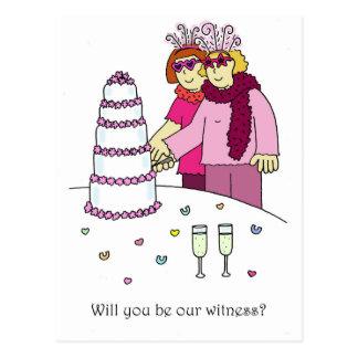 Carte Postale Vous serez notre témoin, deux jeunes mariées