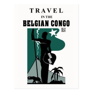 Carte Postale Voyage africain du Congo belge de style des rétros