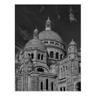 Carte Postale Voyage blanc noir de Sacre Coeur Paris l'Europe