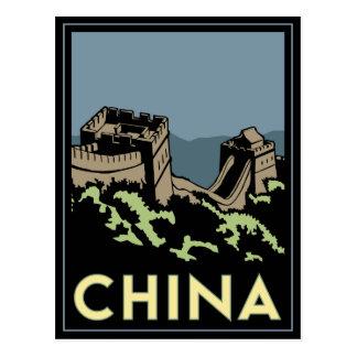 Carte Postale voyage d'art déco de l'Asie de Grande Muraille de