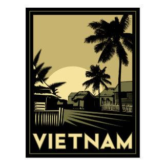 Carte Postale voyage d'art déco du Vietnam Asie du Sud-Est rétro