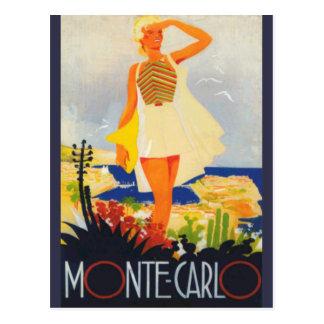 Carte Postale Voyage de plage de Monte Carlo de fille de mode