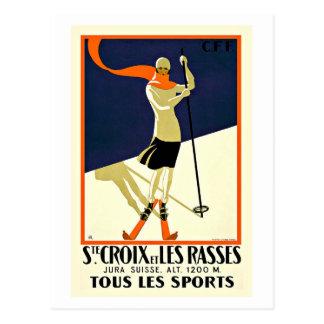 Carte Postale Voyage de sports de ski de Sainte Croix Les Rasses
