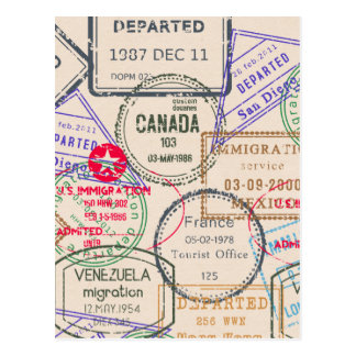 Carte Postale Voyage de timbres de passeport