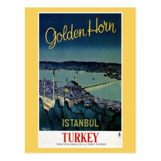 Carte Postale Voyage d'or vintage d'Istanbul Turquie de klaxon