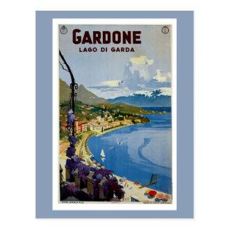 Carte Postale Voyage italien Gardone de policier vintage de lac