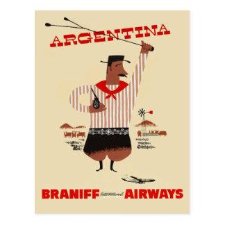 Carte Postale Voyage vintage de ligne aérienne de l'Argentine