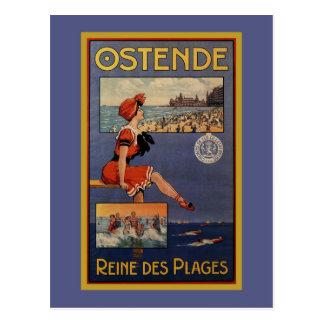 Carte Postale Voyage vintage de plage d'été d'Ostende baignant