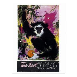 Carte Postale Voyage vintage de singe de gibbon de l'Extrême