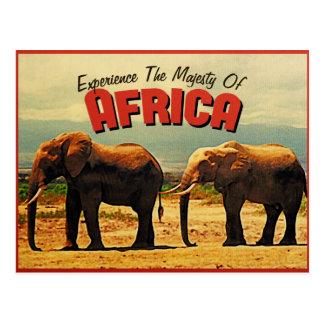 Carte Postale Voyage vintage d'éléphants de l'Afrique