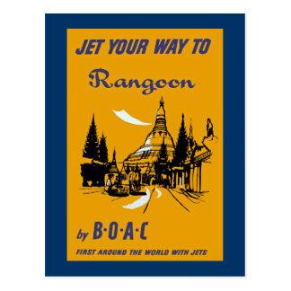 Carte Postale Voyagez en jet votre chemin vers Rangoon