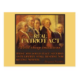 Carte Postale Vrai Patriot Act, les pères fondateurs