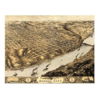 Carte Postale Vue aérienne de Kansas City, Missouri (1869)