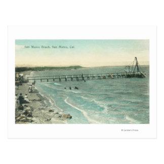 Carte Postale Vue aérienne de plage et de pilier de San Mateo