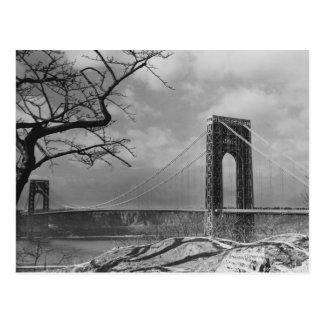 Carte Postale Vue B&W de pont suspendu