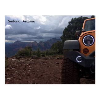 Carte Postale Vue de colline de Schnebly avec des halos de jeep