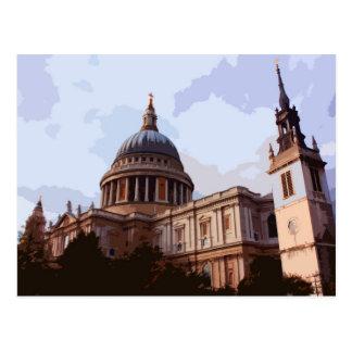Carte Postale Vue de côté de la cathédrale de St Paul à Londres,