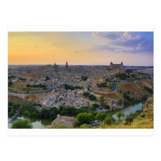 Carte Postale Vue de coucher du soleil de Toledo Espagne