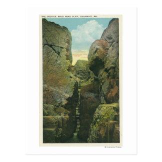 Carte Postale Vue de la crevasse de falaise de tête chauve