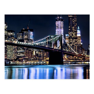 Carte Postale Vue de la réflexion de pont de Brooklyn de New