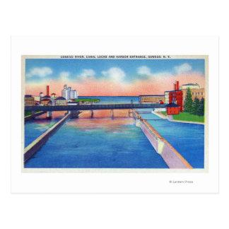 Carte Postale Vue de rivière d'Oswego des serrures et du port de