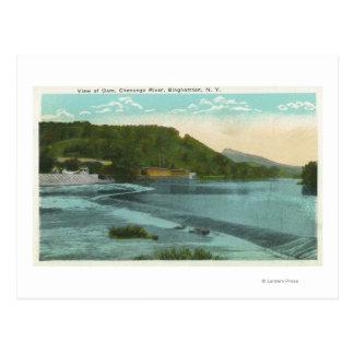 Carte Postale Vue de rivière et de barrage de Chenango