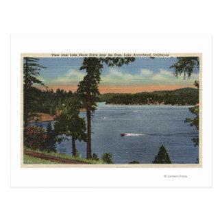 Carte Postale Vue d'entraînement de rivage de lac, près de