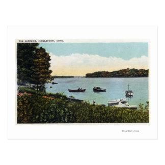Carte Postale Vue des bateaux aux étroits