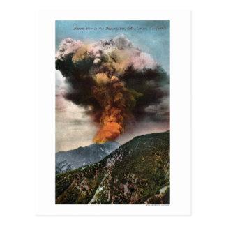 Carte Postale Vue d'incendie de forêt en montagnes