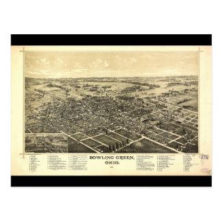 Carte Postale Vue d'oeil d'oiseau de Bowling Green Ohio (1888)