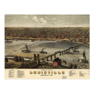 Carte Postale Vue d'oeil d'oiseau de Louisville, Kentucky (1876)