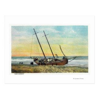 Carte Postale Vue du bateau de coureur de rhum à terre