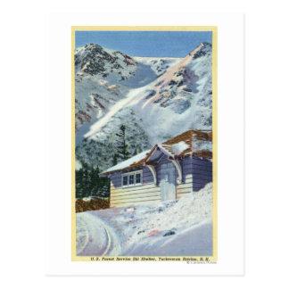 Carte Postale Vue d'un abri de ski de Service Forestier des USA