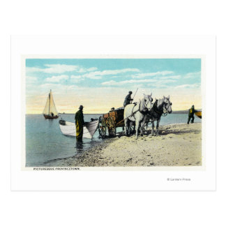 Carte Postale Vue d'un chariot de cheval tirant dans un bateau