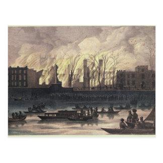 Carte Postale Vue d'un feu au palais de Whitehall