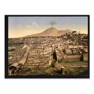 Carte Postale Vue générale et cru du Vésuve, Pompeii, Italie