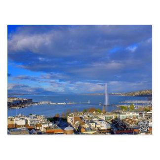 Carte Postale Vue panoramique du jet d'eau de Genève