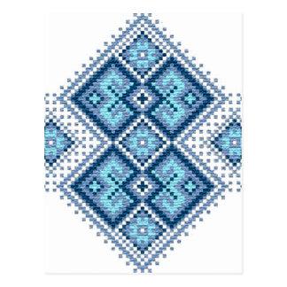 Carte Postale Vyshyvanka ukrainien de bleu de broderie