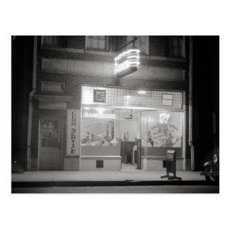 Carte Postale Wagon-restaurant la nuit Night, 1940