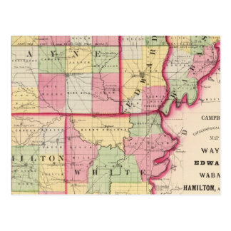Carte Postale Wayne, Edwards, Wabash, Hamilton, comtés blancs