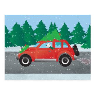 Carte Postale Westie conduisant la voiture de Noël avec l'arbre